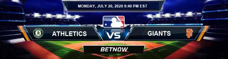 Oakland Athletics vs San Francisco Giants 07-20-2020 MLB Picks Betting Odds and Forecast