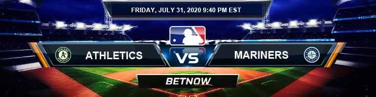 Oakland Athletics vs Seattle Mariners 07-31-2020 MLB Picks Predictions and Baseball Previews