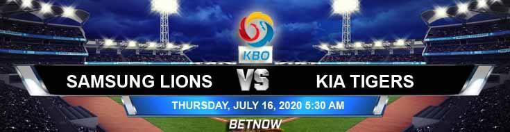 Samsung Lions vs KIA Tigers 07-16-2020 KBO Odds Picks and Betting Predictions