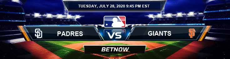 San Diego Padres vs San Francisco Giants 07-28-2020 MLB Picks Predictions and Betting Previews