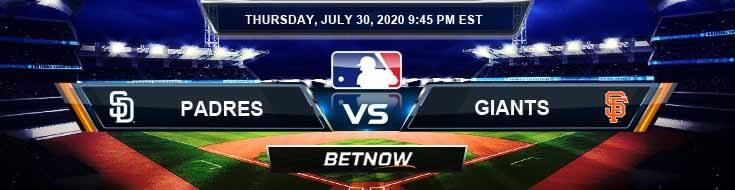 San Diego Padres vs San Francisco Giants 07-30-2020 MLB Betting Spread and Baseball Previews