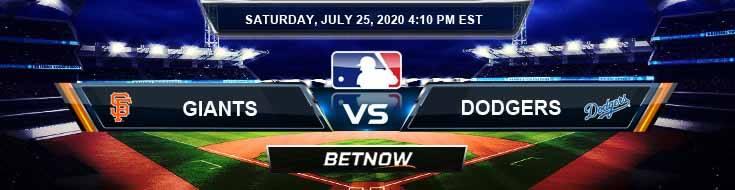 San Francisco Giants vs Los Angeles Dodgers 07-25-2020 MLB Odds Baseball Predictions and Betting Picks