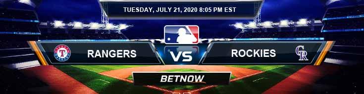 Texas Rangers vs Colorado Rockies 07-21-2020 MLB Previews Betting Analysis and Baseball Predictions