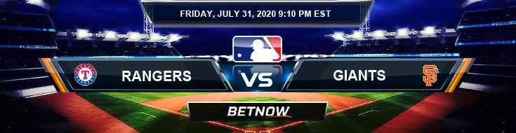 Texas Rangers vs San Francisco Giants 07-31-2020 MLB Results Odds and Betting Picks