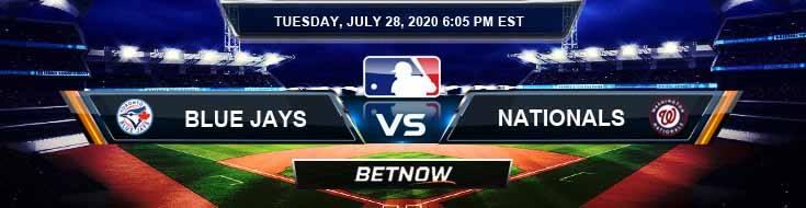 Toronto Blue Jays vs Washington Nationals 07-28-2020 MLB Odds Picks and Predictions