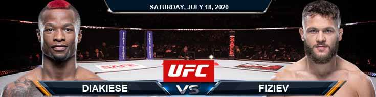 UFC Fight Night 172 Diakiese vs Fiziev 07-18-2020 Picks Predictions and Previews