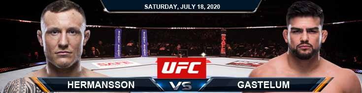 UFC Fight Night 172 Hermansson vs Gastelum 07-18-2020 Predictions Previews and Betting Spread