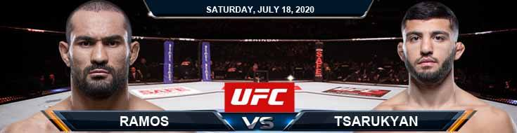 UFC Fight Night 172 Ramos vs Tsarukyan 07-18-2020 Previews Spread and Odds