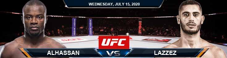 UFC on ESPN 13 Alhassan vs Lazzez 07-15-2020 Picks Predictions Previews