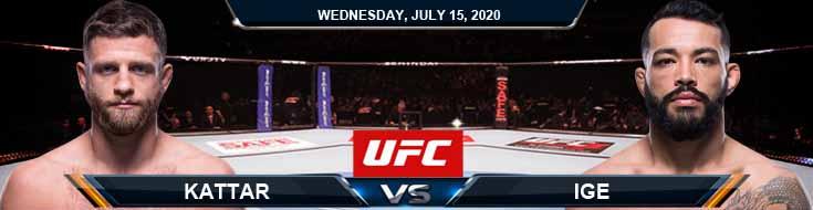 UFC on ESPN 13 Kattar vs Ige 07-15-2020 Picks Predictions Previews