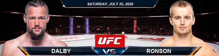 UFC on ESPN 14 Dalby vs Ronson 07-25-2020 Picks Betting Spread and Previews