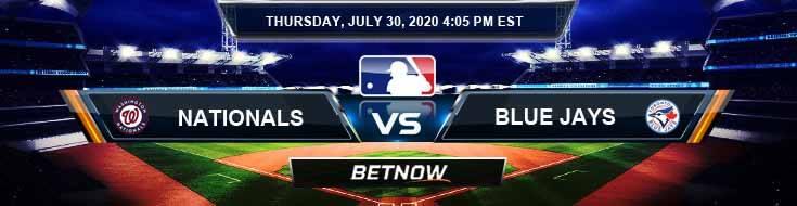 Washington Nationals vs Toronto Blue Jays 07-30-2020 MLB Results Analysis and Betting Forecast