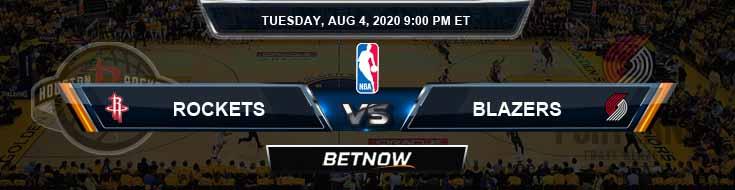 Houston Rockets vs Portland Trail Blazers 8-4-2020 NBA Picks and Previews