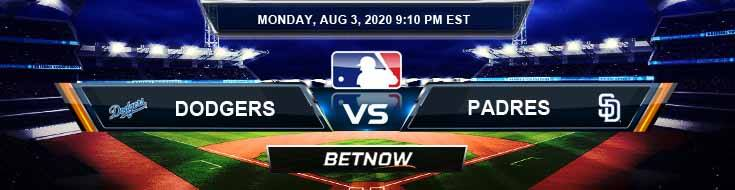 Los Angeles Dodgers vs San Diego Padres 08-03-2020 MLB Picks Predictions and Previews