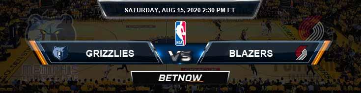 Memphis Grizzlies vs Portland Trail Blazers 8-15-2020 Spread Odds and Picks