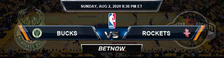 Milwaukee Bucks vs Houston Rockets 8-2-2020 Odds Picks and Prediction