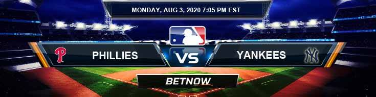 Philadelphia Phillies vs New York Yankees 08-03-2020 MLB Predictions Analysis and Baseball Previews