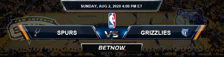 San Antonio Spurs vs Memphis Grizzlies 8-2-2020 Odds Picks and Previews