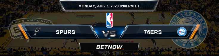San Antonio Spurs vs Philadelphia 76ers 8-3-2020 NBA Spread and Prediction