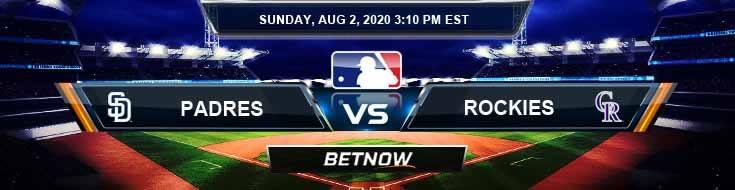 San Diego Padres vs Colorado Rockies 08-02-2020 MLB Baseball Spread and Game Analysis