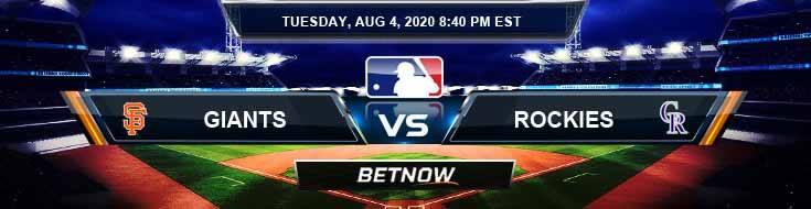 San Francisco Giants vs Colorado Rockies 08-04-2020 MLB Analysis Previews and Betting Picks