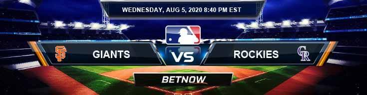 San Francisco Giants vs Colorado Rockies 08-05-2020 MLB Predictions Analysis and Baseball Spread