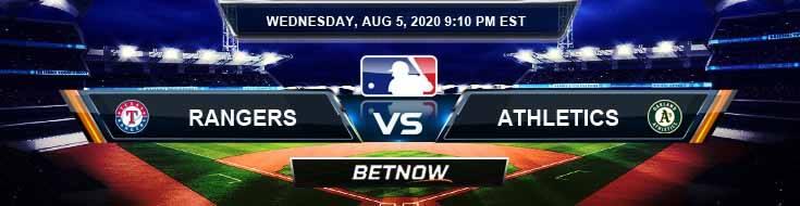Texas Rangers vs Oakland Athletics 08-05-2020 MLB Tips Previews and Baseball Odds