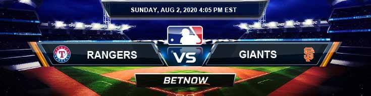 Texas Rangers vs San Francisco Giants 08-02-2020 MLB Previews Baseball Predictions and Betting Picks