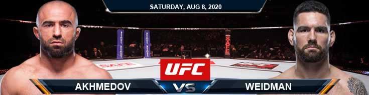UFC Fight Night 174 Akhmedov vs Weidman 08-08-2020 Picks Predictions and Previews
