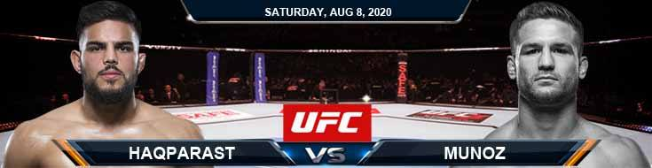 UFC Fight Night 174 Haqparast vs Munoz 08-08-2020 Forecast Tips and Results