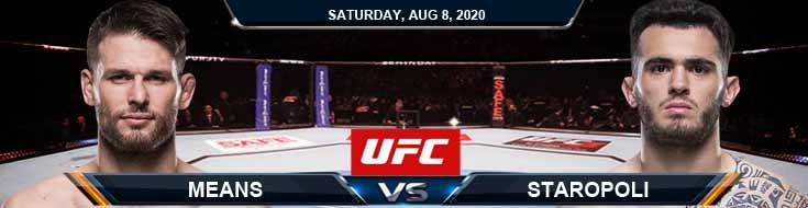 UFC Fight Night 174 Means vs Staropoli 08-08-2020 Fight Analysis Forecast and Tips