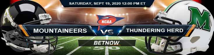 Appalachian State Mountaineers vs Marshall Thundering Herd 09-19-2020 NCAAF Odds Results & Analysis