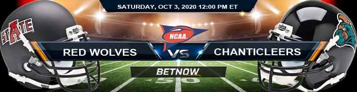 Arkansas State Red Wolves vs Coastal Carolina Chanticleers 10-03-2020 NCAAF Predictions Previews & Spread