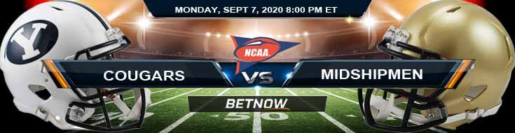 BYU Cougars vs Navy Midshipmen 09-07-2020 Odds Picks and Predictions