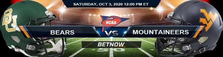 Baylor Bears vs West Virginia Mountaineers 10-03-2020 NCAAF Previews Spread & Game Analysis