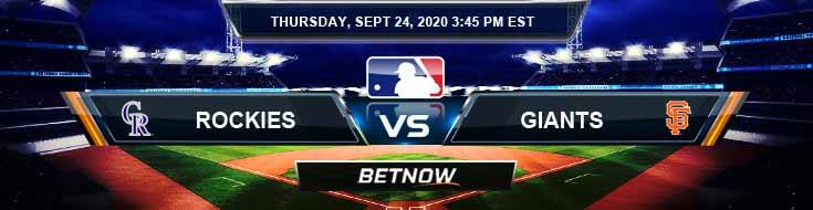 Colorado Rockies vs San Francisco Giants 09-24-2020 Spread Previews and Predictions