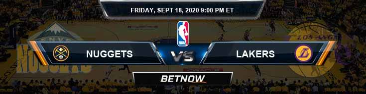Denver Nuggets vs Los Angeles Lakers 9-18-2020 Odds Picks and Previews