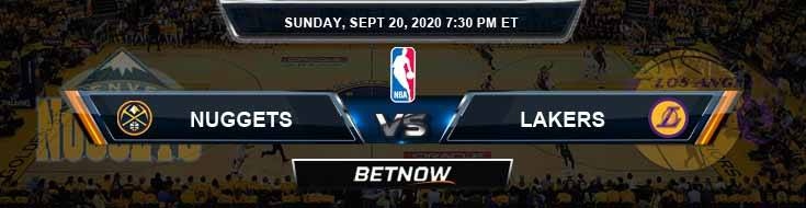 Denver Nuggets vs Los Angeles Lakers 9-20-2020 Odds Picks and Prediction