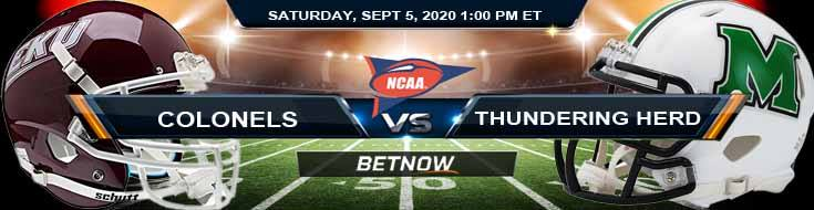 Eastern Kentucky Colonels vs Marshall Thundering Herd 09-05-2020 Odds Picks and Predictions