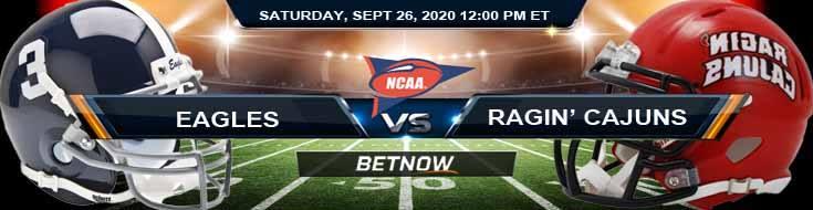 Georgia Southern Eagles vs Louisiana Ragin' Cajuns 09-26-2020 NCAAF Analysis Picks & Odds