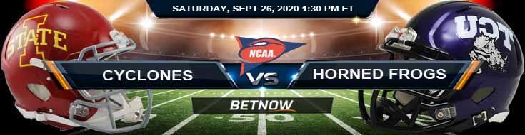 Iowa State Cyclones vs TCU Horned Frogs 09-26-2020 NCAAF Picks Analysis & Odds