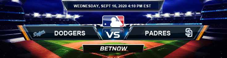 Los Angeles Dodgers vs San Diego Padres 09-16-2020 Odds Predictions and Spread