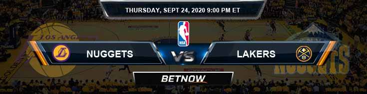 Los Angeles Lakers vs Denver Nuggets 9-24-2020 Odds Picks and Prediction