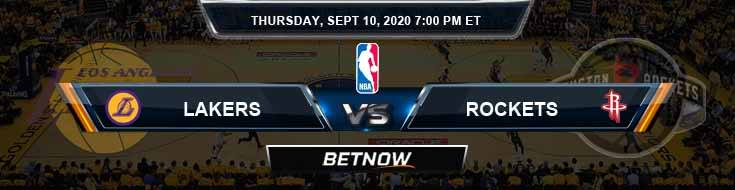 Los Angeles Lakers vs Houston Rockets 9-10-2020 Odds Picks and Previews
