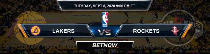 Los Angeles Lakers vs Houston Rockets 9-8-2020 NBA Odds and Previews