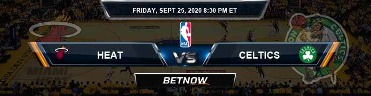 Miami Heat vs Boston Celtics 9-25-2020 Picks Previews and Prediction
