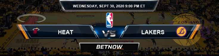Miami Heat vs Los Angeles Lakers 9-30-2020 Picks Previews and Predictions