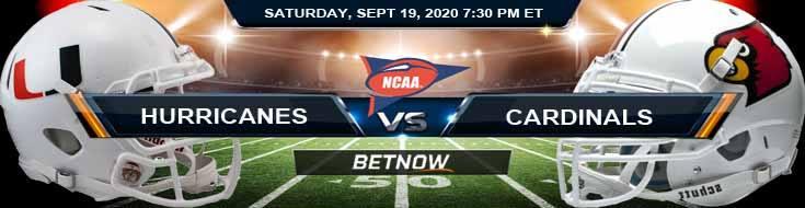 Miami Hurricanes vs Louisville Cardinals 09-19-2020 NCAAF Predictions Previews & Spread