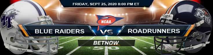 Middle Tennessee Blue Raiders vs UTSA Roadrunners 09-25-2020 NCAAF Picks Predictions & Previews