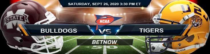 Mississippi State Bulldogs vs LSU Tigers 09-26-2020 NCAAF Odds Spread & Picks